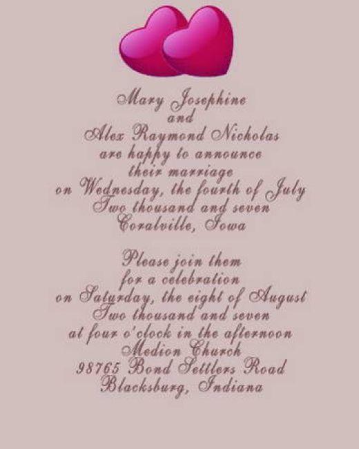 Suggested Wording Wedding Invitations