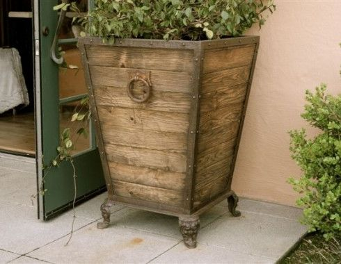 Wooden Flower Pot Reclaimed Mahogany Amp Iron Planter