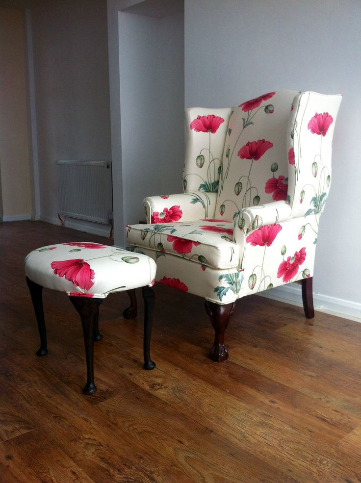Fabric Armchair And Footstool