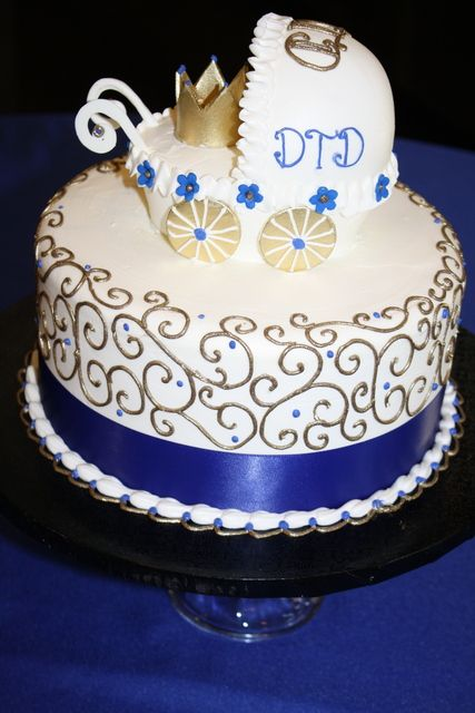 Blue And Gold Diaper Cakes