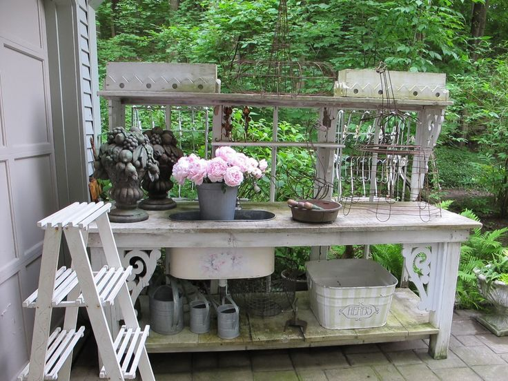 Potting Bench Made With Old Doors Potting Benches