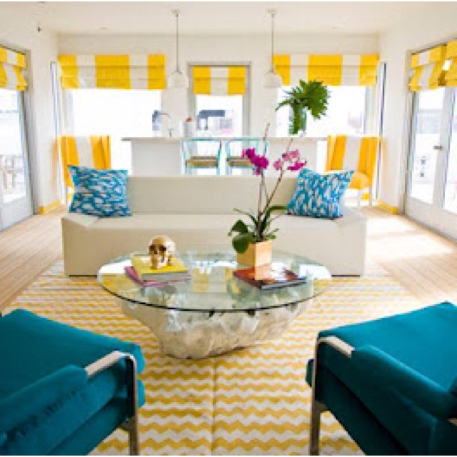 Yellow And Turquoise Living Room