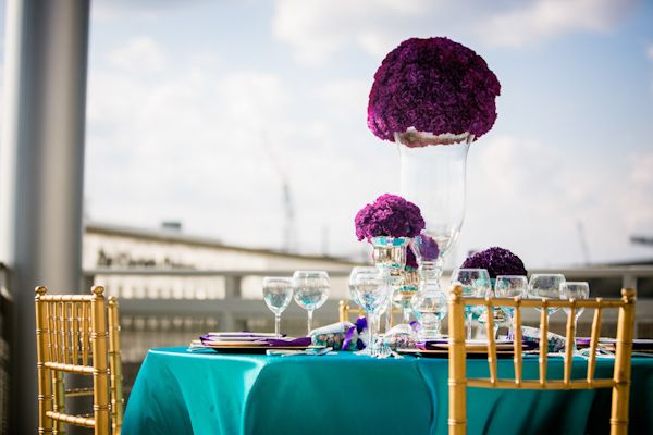 Purple Teal And Gold Table Setting