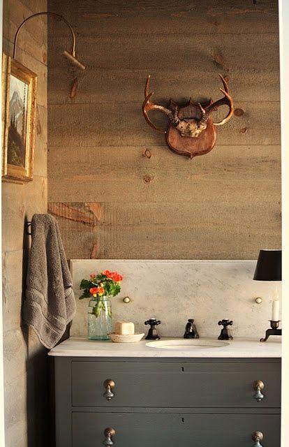 Benjamin Moore Ashwood Moss On Vanity Bathroom