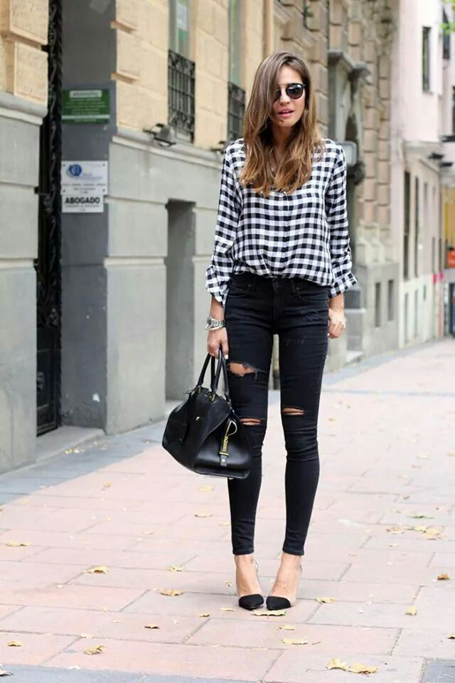 Black White Checkered Skirt And Boots