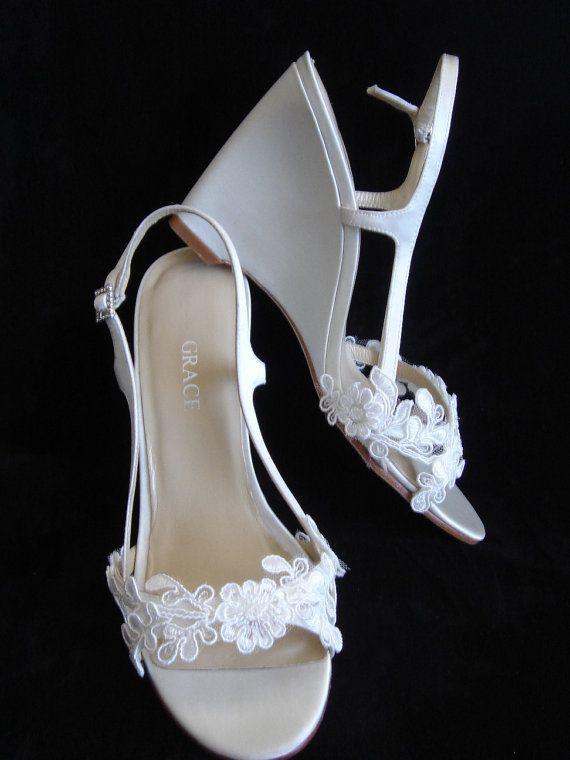 Ivory Lace Flat Wedding Shoes