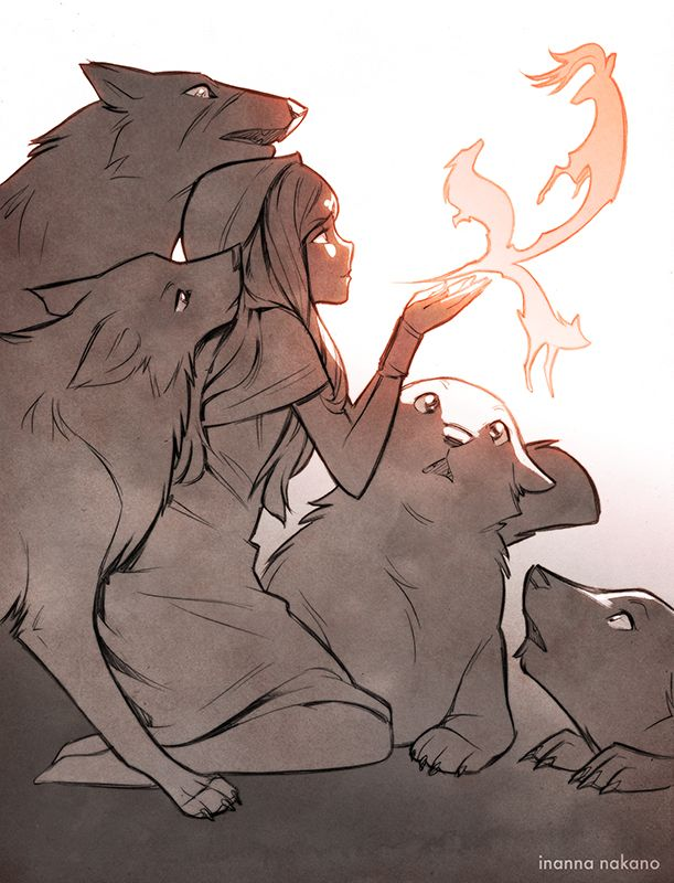 Drawing Protecting Girl Black Wolf