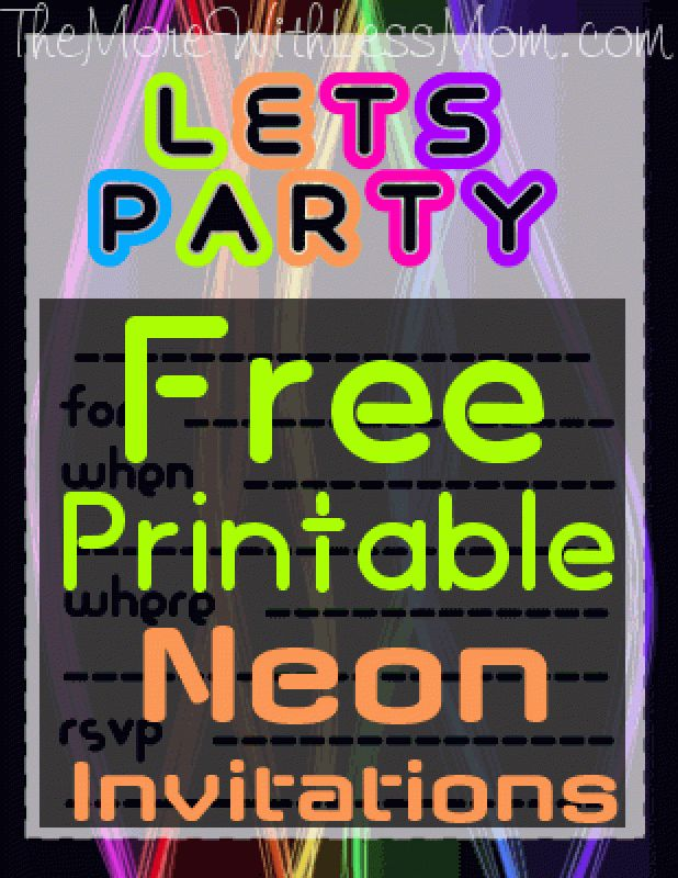 Printable Neon Invitations
