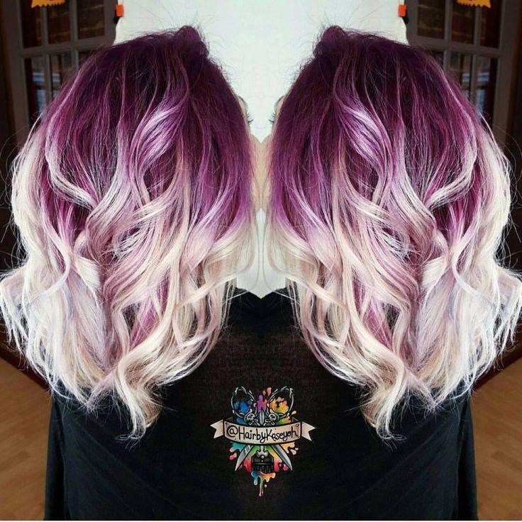 Plum purple hair color base with billowy white blonde hair ...