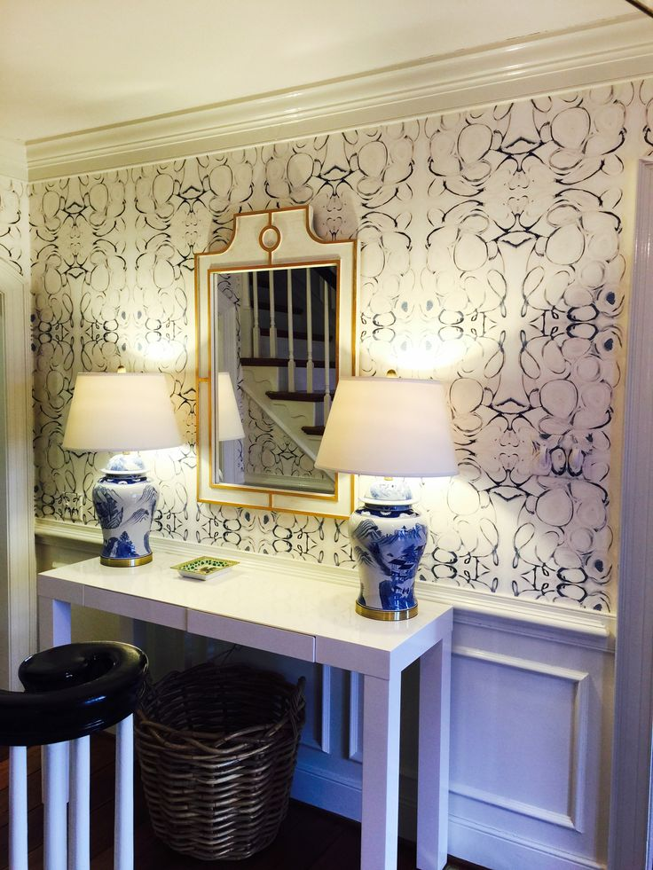 Lindsay Cowles Llc Home 43014 Blue Wallpaper In Entry