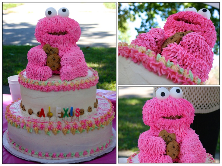 2 Tier Pink Cookie Monster Birthday Cake Made Out Of Rice