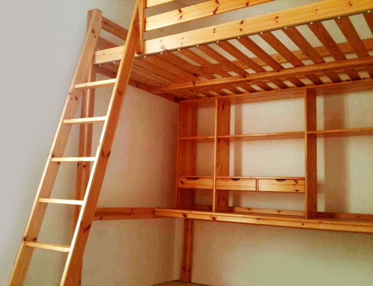 Ikea Stora Pine Double Loft Bed With Mattress Desk And