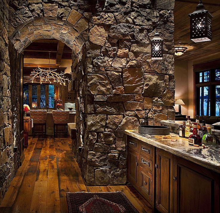 The Stone Arch Gives This Rustic Bar Nook An Underground