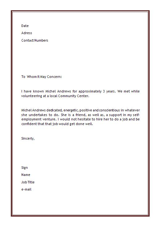 Personal Letter Of Recommendation Template Microsoft