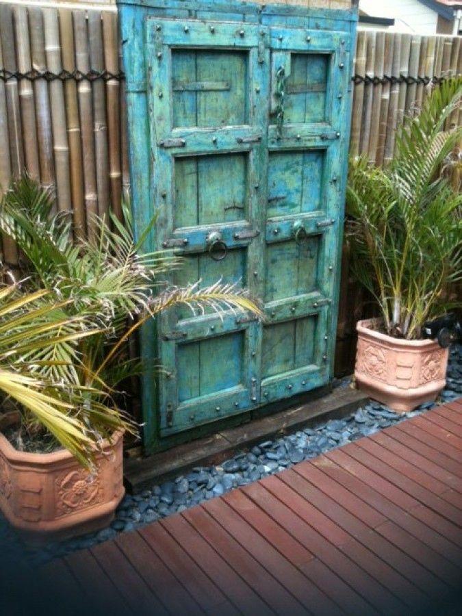 Old Rajastani Doors Used As Garden Gates To Dramatic