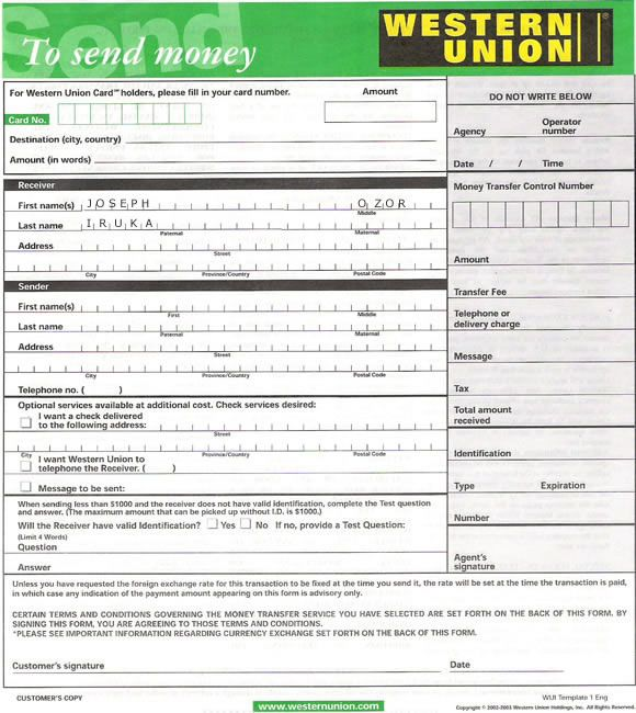 Order Money Union 2000 Western Fill Out