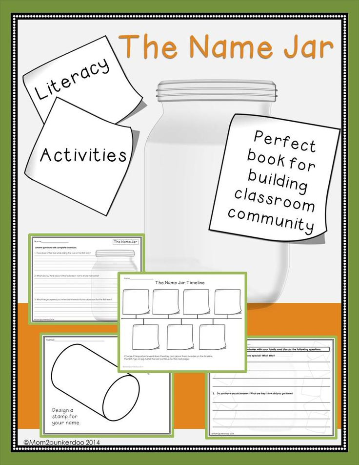 The Name Jar Literacy Activities | Literature, Back to and ...