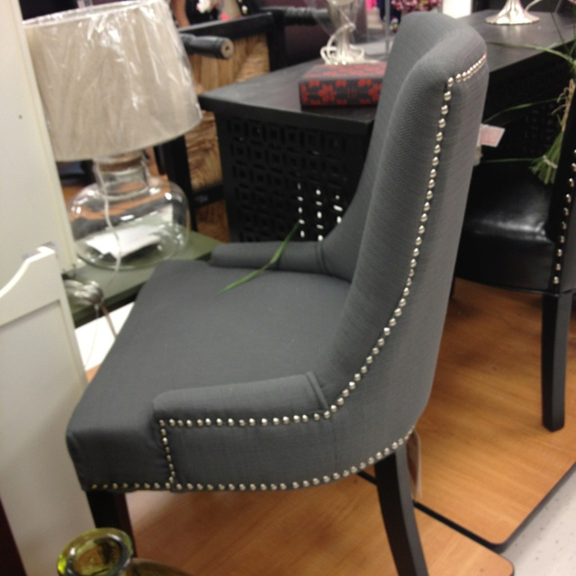 Chair Accent Grey Studded