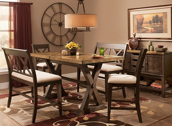 Wexford 5 Pc Counter Height Dining Set W 2 Benches
