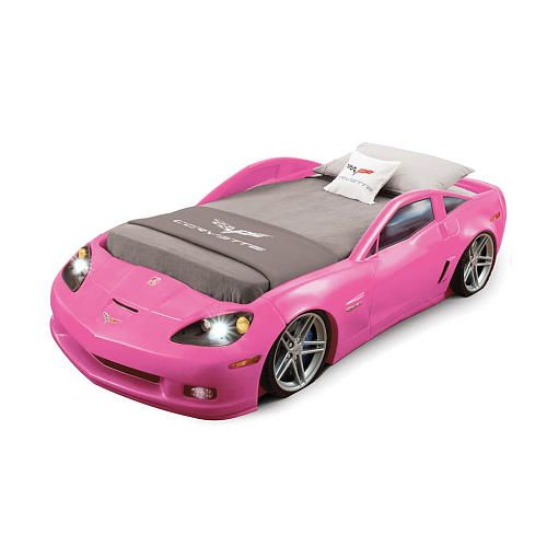 Corvette Toddler To Twin Bed With Lights Pink Cars
