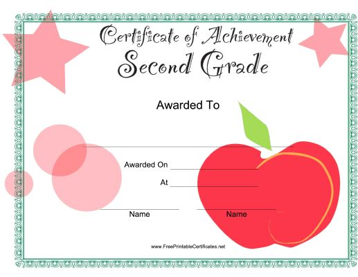2nd grade completion certificate