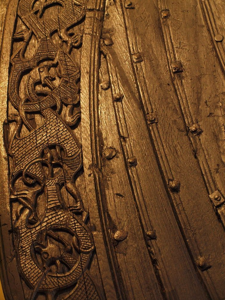 Carving Viking Ship Ancient Wood