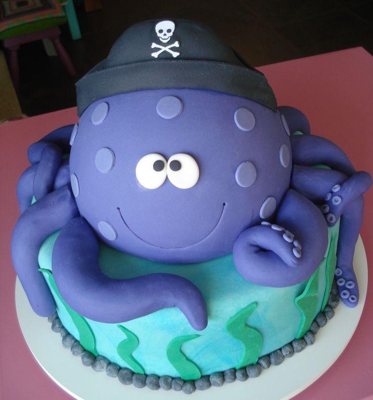 Pirate Octopus Birthday Cake Thecakeisonthetable Bolos