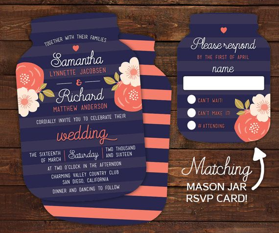 Navy And Coral Rustic Wedding Invitations