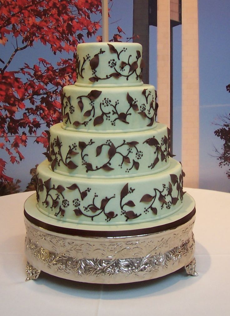 Brown Green White Wedding Cake