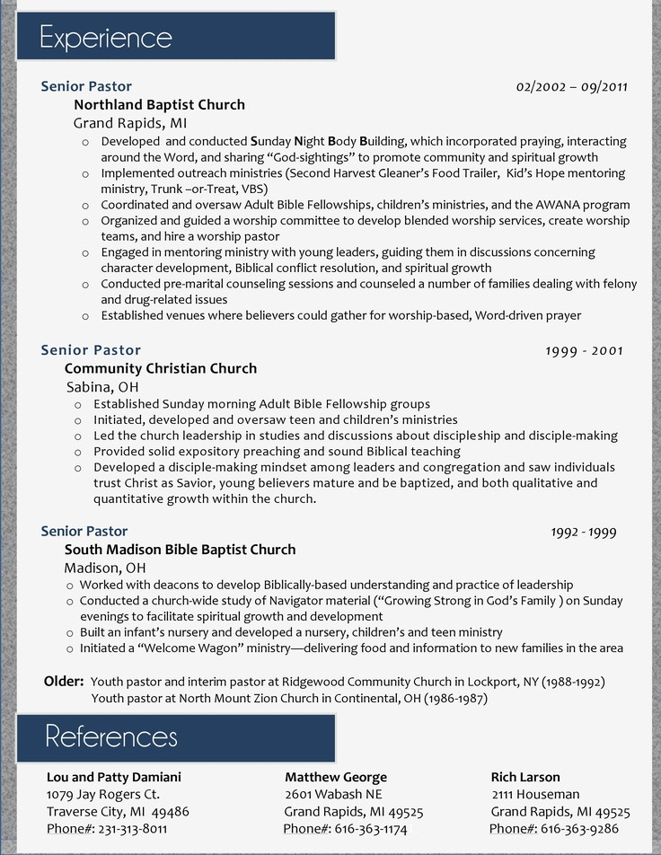 Youth Pastor Resume Sample