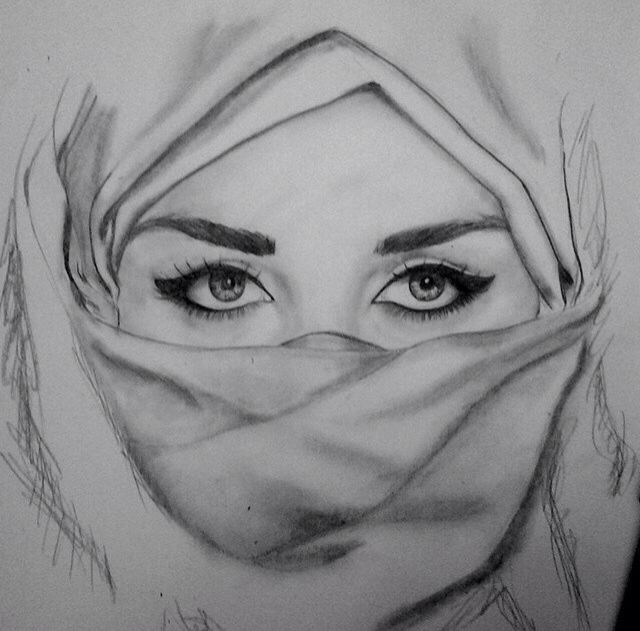 Beautiful Hijab Girls Eye Drawing