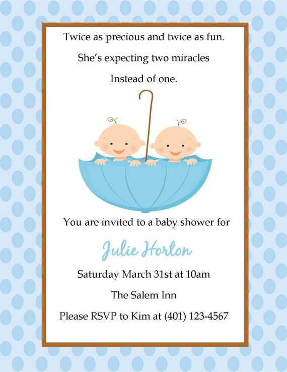 Baby Shower Invitation Quotes Twins