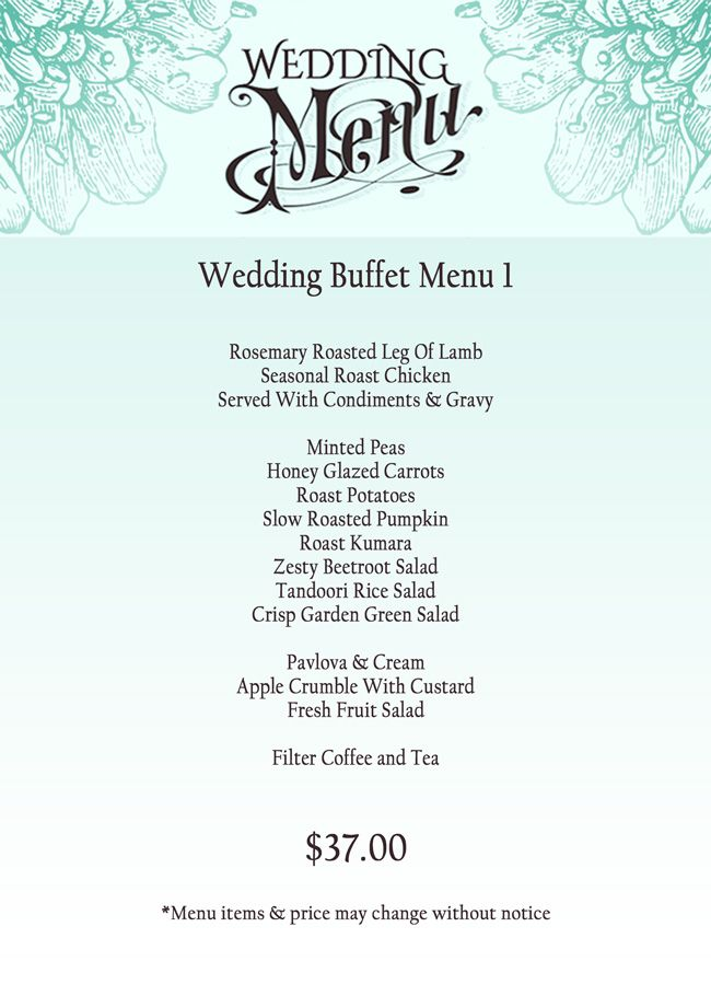 Easy Menus Wedding Buffet