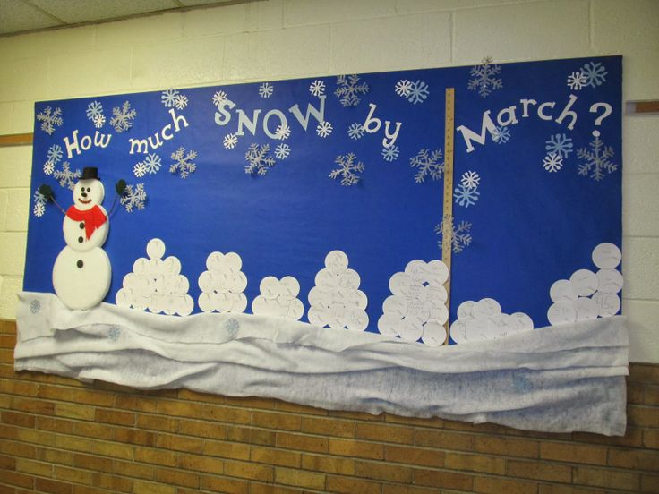 School Winter Themed Bulletin Board Completed With