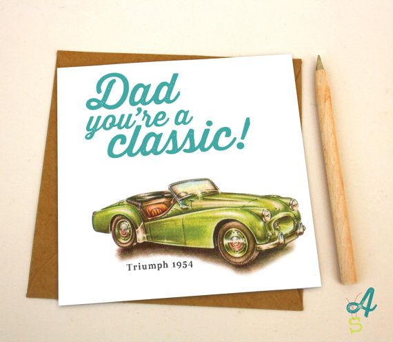Fathers day card classic car dad birthday card greeting, funny cartoons pun cat