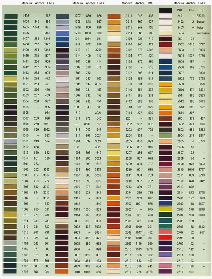Dmc Floss Chart Color By Number And Name