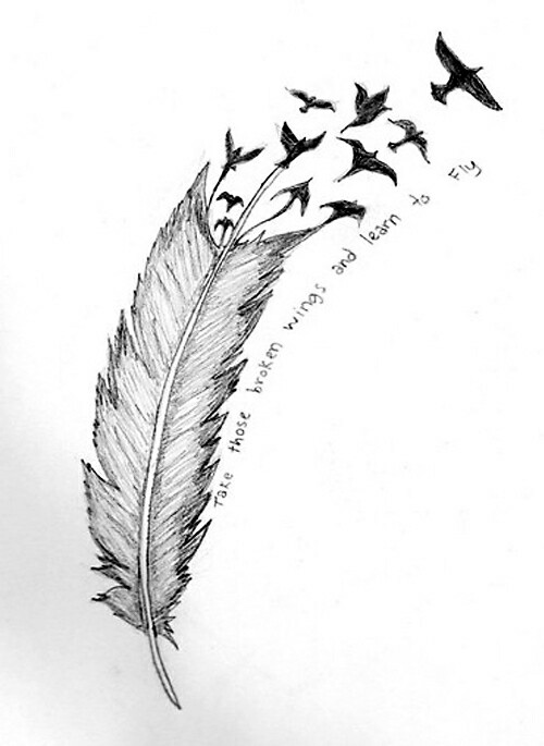Infinity Feathers Name Tattoos Birds