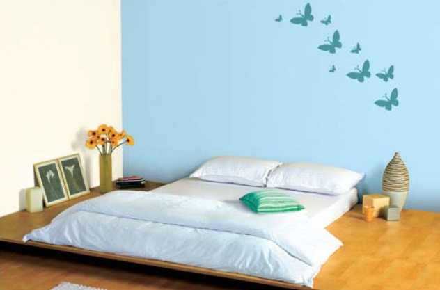 Blue Bedroom Feature Wall In Soft Blue 9210 With Neutral