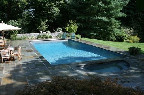 Pool Surrounding Stone Pavers Simple Rectangular Pool