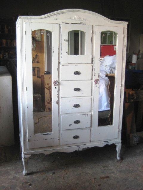 White Mirrored Armoire Wardrobe