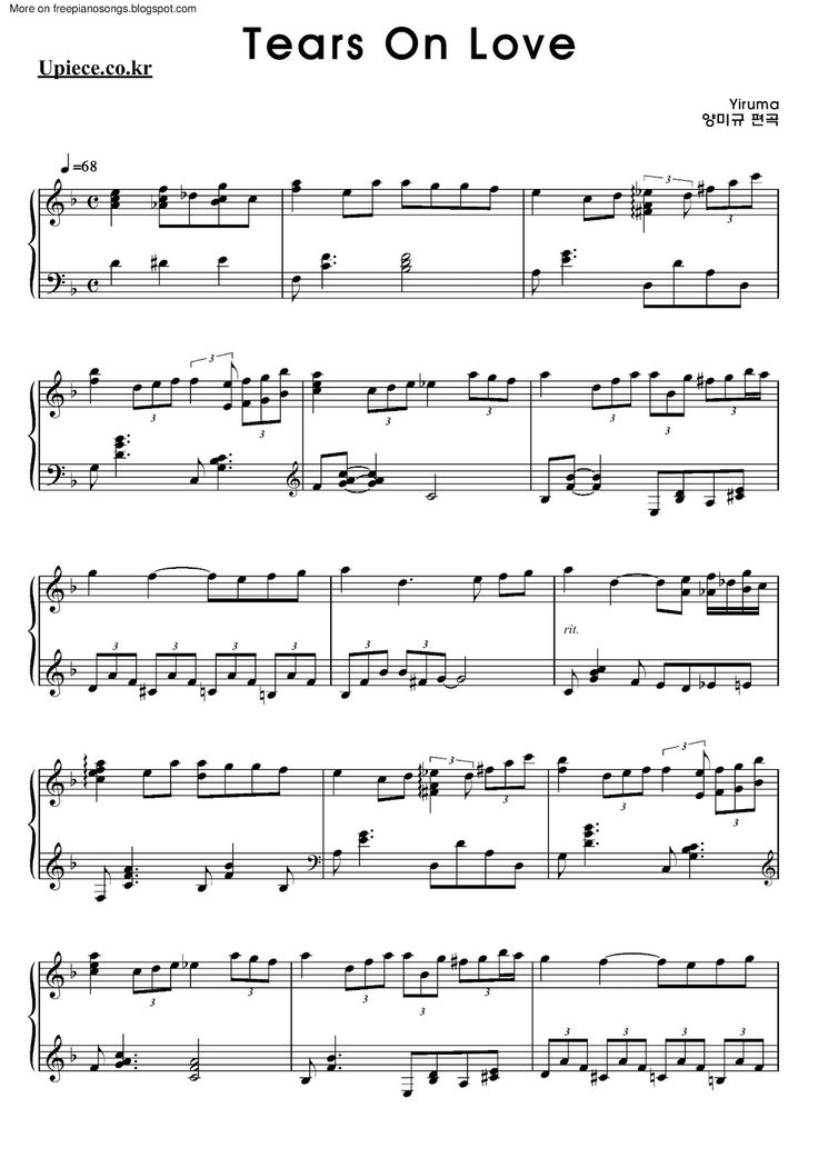 Yiruma Tears Love Sheet Music