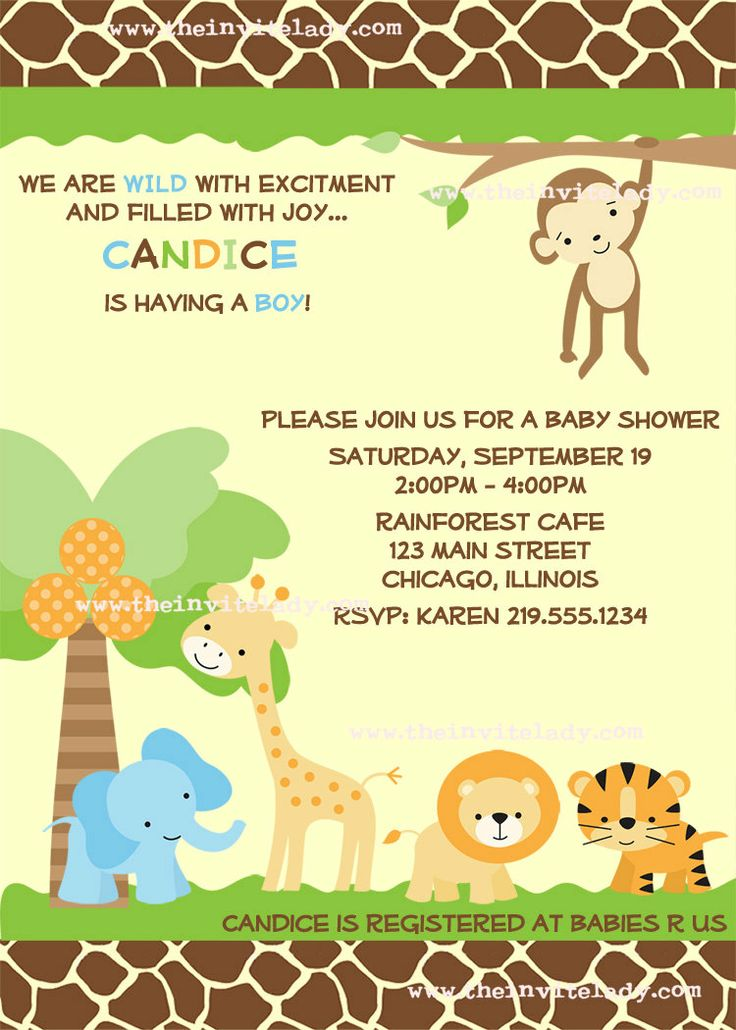 Safari Animals Baby Shower Invitations