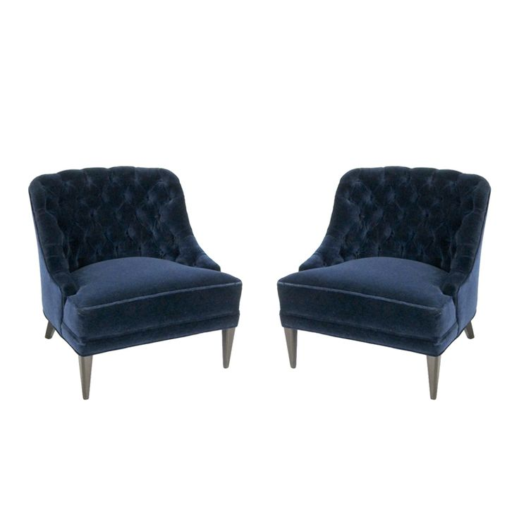 Navy Blue Tufted Chair