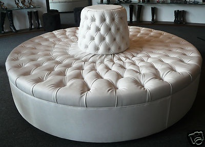 Details About Extraordinary Ivory Tufted Round Sofa Chair
