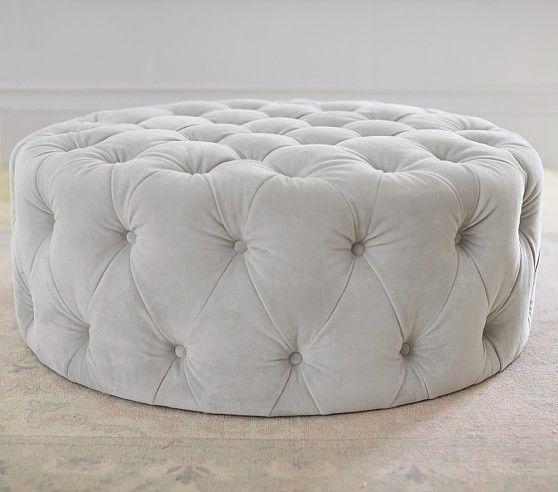 Gray Leather Storage Ottoman