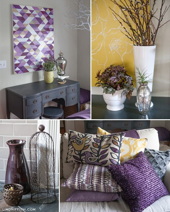 Yellow Living And Purple Room