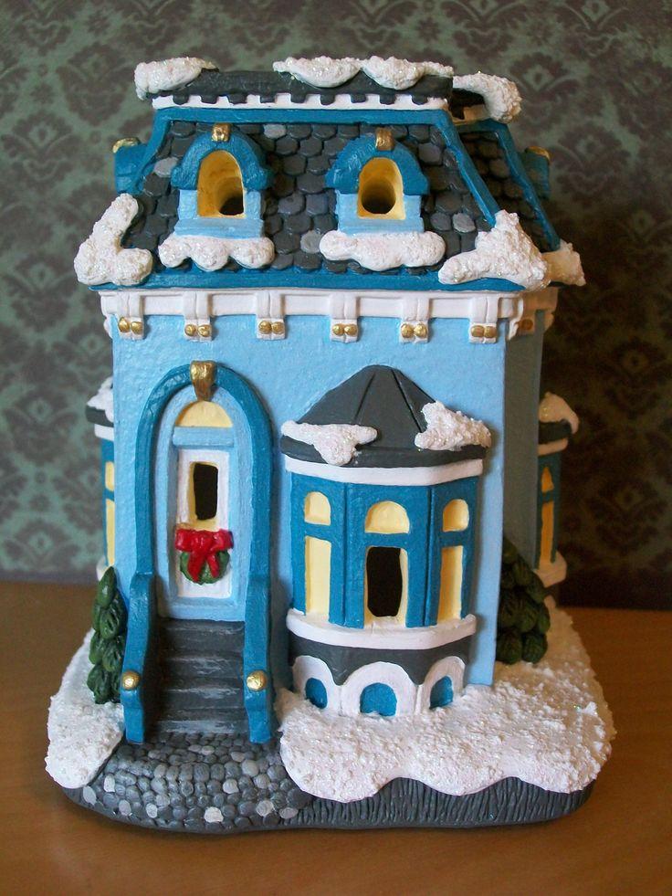Houses Village Plaster Unpainted Christmas