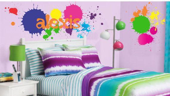 Teen Boy Girl Name Wall Decal Paint Splatters Vinyl ...