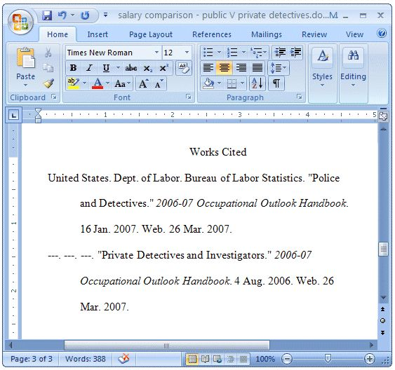 works cited page layout