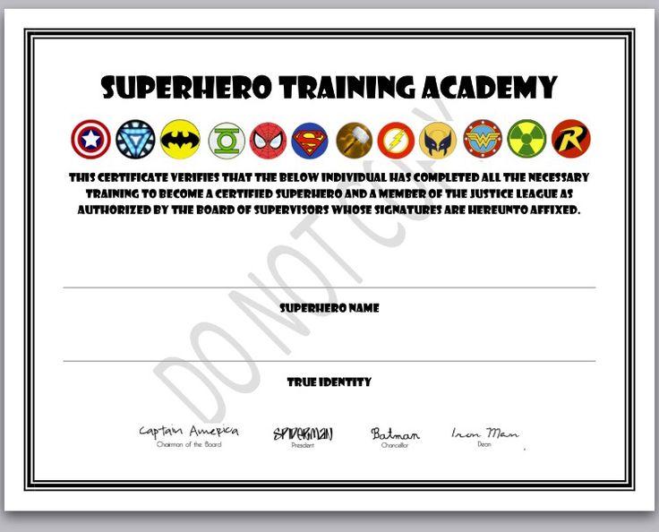 Superhero Certificate Template Free X8k6y Superhero Training